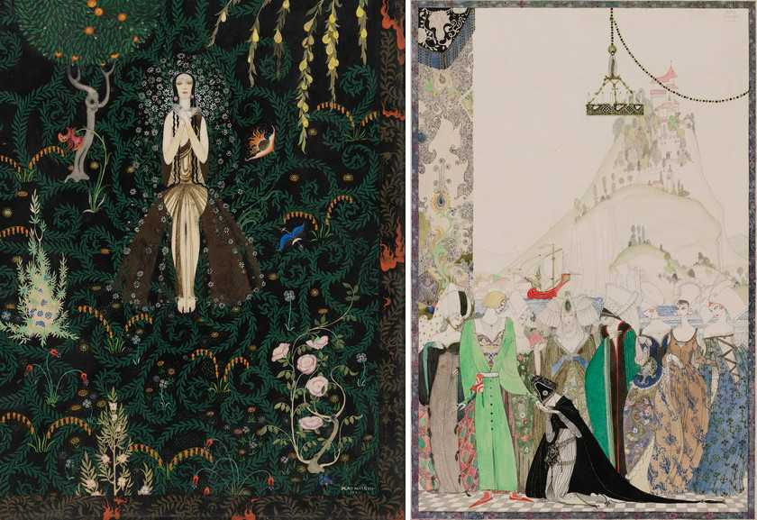 Left Kay Nielsen - Flowers and Flames Right Kay Nielsen - Illustration from the Joan of Arc series