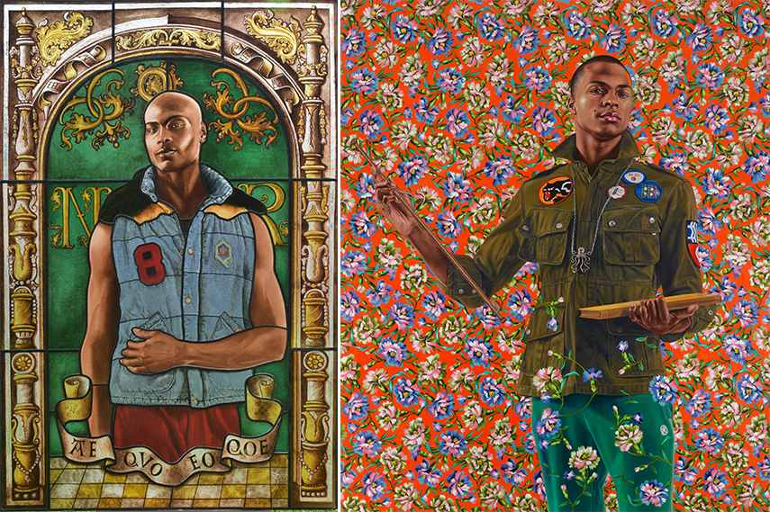 Left: Kehinde Wiley - Arms of Nicolas Ruterius, Bishop of Arras, 2014, Courtesy of Galerie Daniel Templon, Paris. © Kehinde Wiley / Right: Kehinde Wiley - Anthony of Padua, 2013, Seattle Art Museum, gift of the Contemporary Collectors Forum, 2013.8. © Kehinde Wiley. Photo: Max Yawney, courtesy of the artist and Roberts & Tilton, Culver City, California