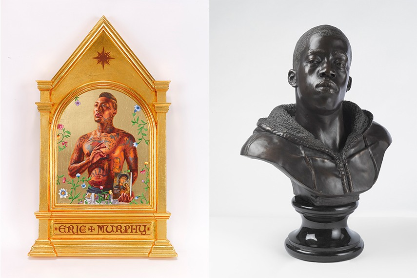 Left: Kehinde Wiley - Saint Gregory Palamas, 2014, Collection of Edward Tyler Nahem, New York, courtesy of Sean Kelly, New York. © Kehinde Wiley. Photo: Max Yawney / Right: Kehinde Wiley - Houdon Paul-Louis, 2011, Brooklyn Museum, Frank L. Babbott Fund and A. Augustus Healy Fund, 2012.51. Photo: Sarah DeSantis, Brooklyn Museum