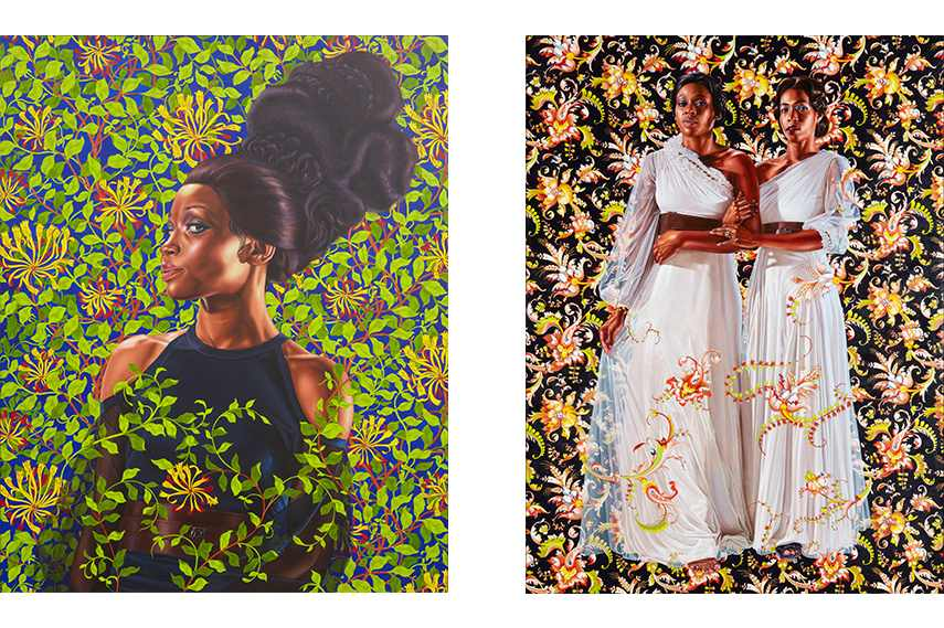Left: Kehinde Wiley - Shantavia Beale II, 2012, Collection of Ana and Lenny Gravier. Courtesy Sean Kelly, New York. © Kehinde Wiley. Photo: Jason Wyche / Right: Kehinde Wiley - The Two Sisters, 2012, Collection of Pamela K. and William A. Royall, Jr. Courtesy of Sean Kelly, New York. © Kehinde Wiley. Photo: Jason Wyche