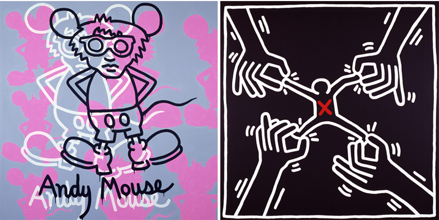 Left Keith Haring - Andy Mouse, 1985 Right Keith Haring - Untitled, 1985