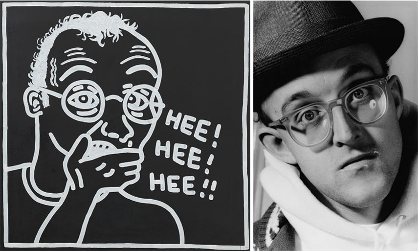 Left Keith Haring - Untitled (Self-Portrait), 1985 Right Gottfried Helnwein - Keith Haring, 1989