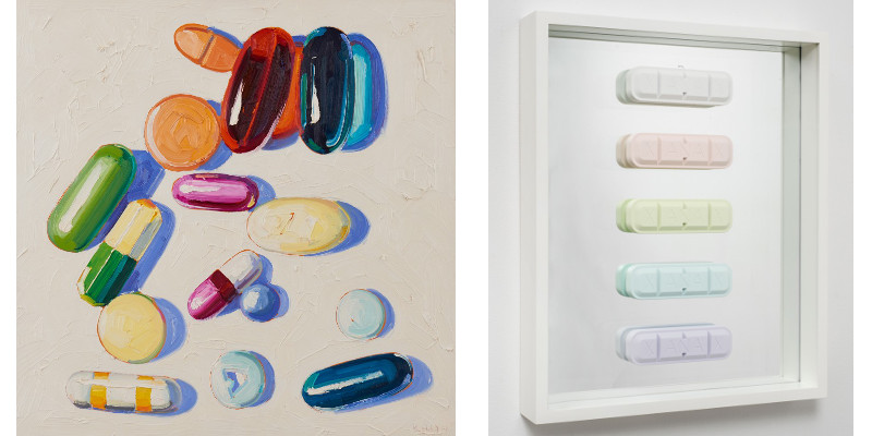 Left Kelly Reemtsen - Not Every Pill is Bitter, 2012, Right Kelly Reemtsen - Xanax Rainbow, 2012