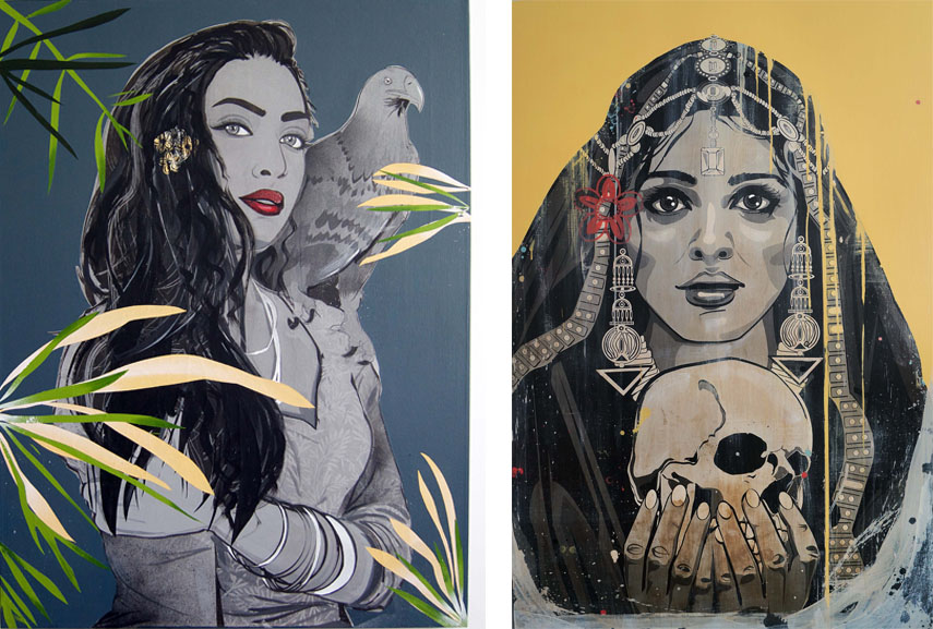 Left Kestin Cornwall - L'aigle, 2017 Right Kestin Cornwall - Carpe Diem, Memento Mori, 2014