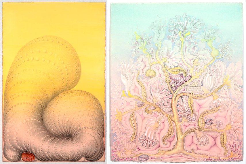 Left: Kinke Kooi - Meditation on Gravity, 2013 / Right: Kinke Kooi - Nobody Told Me About Her, 2015