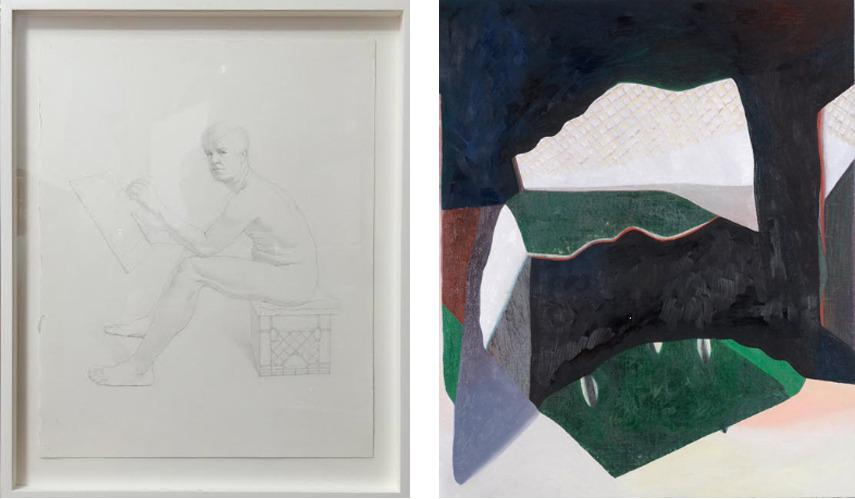 Left- Kurt Kauper - Self-Portait- Seated 2015 framed; Right- Lucy Mink-Covello - Star 2015