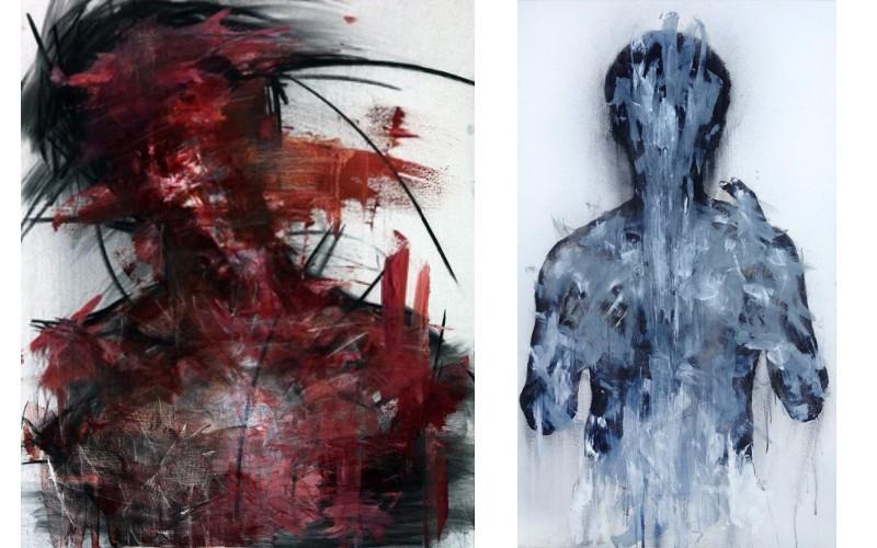 Left KwangHo Shin - Untitled 27, 2013, Right KwangHo Shin - 15P01, 2015