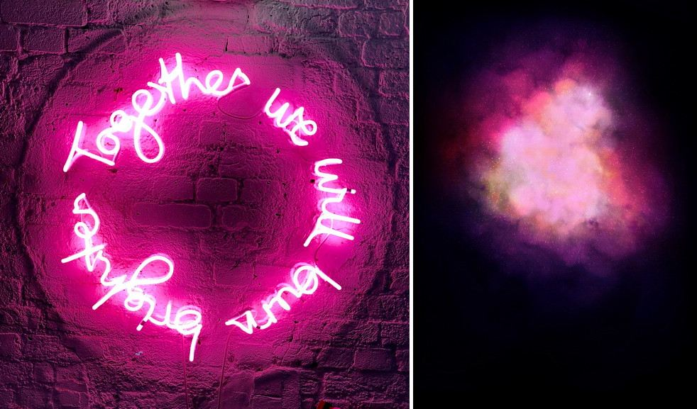 Left Lauren Baker – Together mounted on Perspex Right Lauren Baker - Galaxy Explosion (Diamond Dust - Pink)