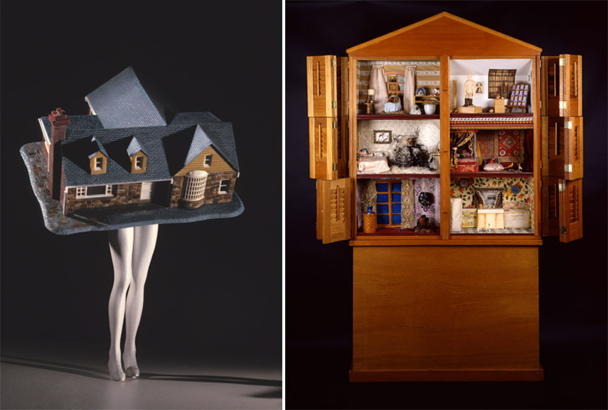 Left Laurie Simmons - Walking House, 1989 Right Miriam Schapiro - Dollhouse, 1972