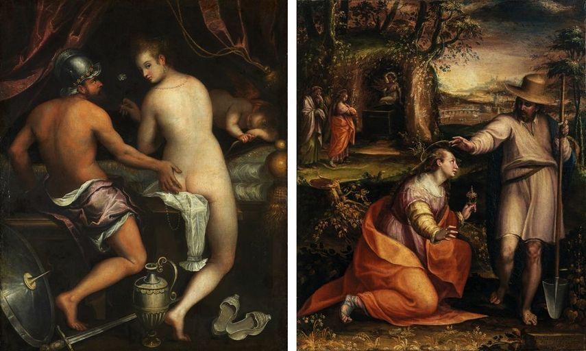 Lavinia Fontana - Mars and Venus, c. 1595, Lavinia Fontana - Noli me tangere, 1581, on view at Prado Museum in 2019 and 2020