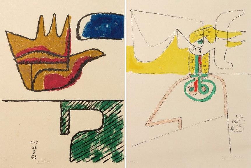 Left Le Corbusier - La Main Ouverte Right Le Corbusier - Taureau VI