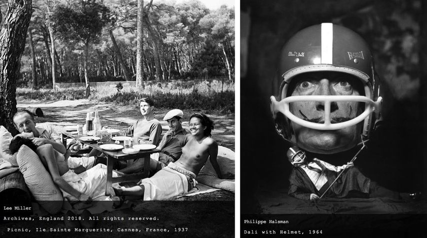 Lee Miller - Picnic, Ile Sainte Marguerite, Cannes, France, 1937, Philippe Halsman - Dali with Helmet, 1964
