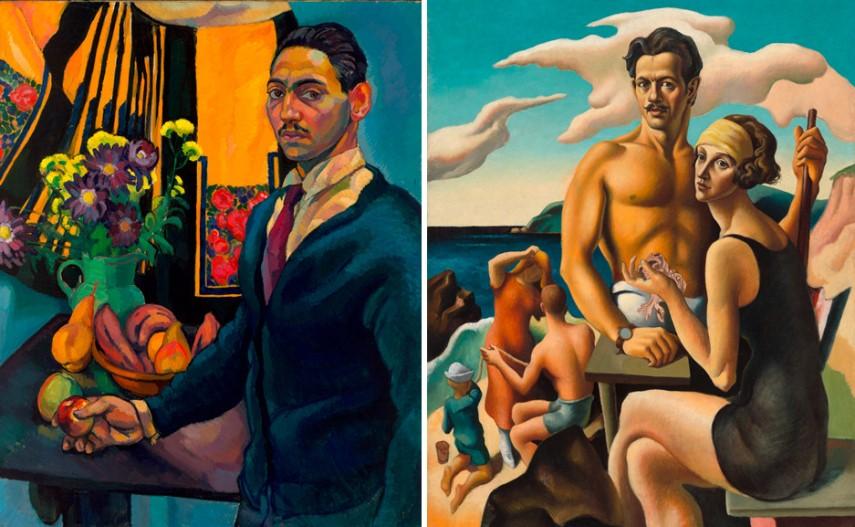 Left Lee Simonson - Self-Portrait Right Thomas Hart Benton - Self-Portrait with Rita