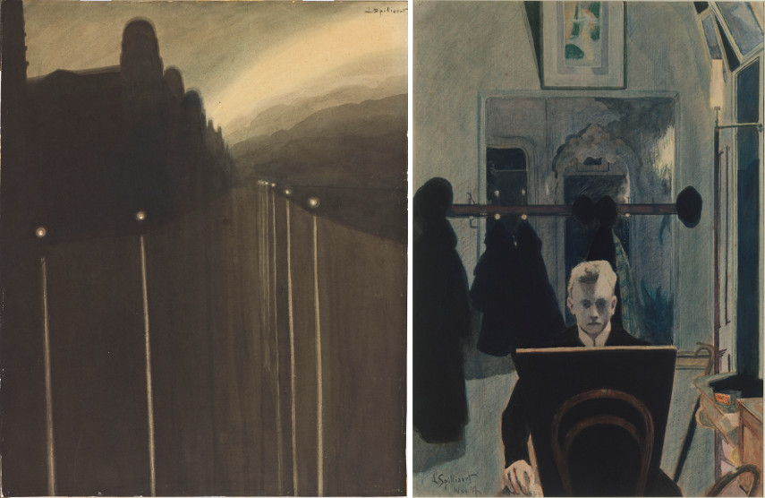 Left Leon Spilliaert - Dike at night Right Leon Spilliaert - Self-portrait