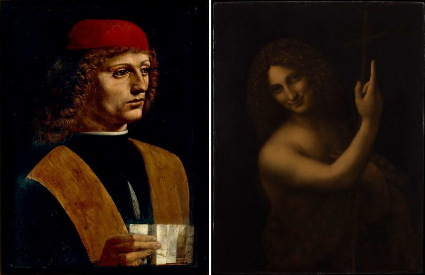Leonardo da Vinci - Portrait of young man holding a partition and Saint John the Baptist