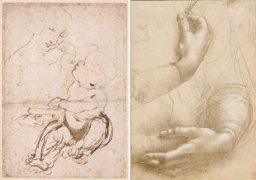 Leonardo da Vinci - Study of Madonna and Child and Study of hands