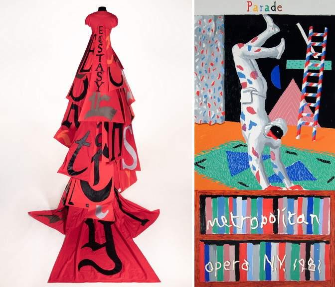Left Lesley Dill - Red Ecstasy Dress Right David Hockney