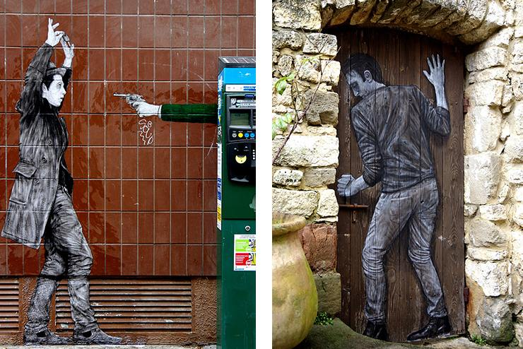 Left Levalet - Hold Up, Paris 2016 - Right Levalet - Effraction, Blauzac 2015
