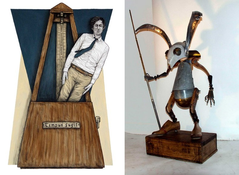 Left Levalet - Tempus Fugit Right Miguel Fernandez -Sculptures