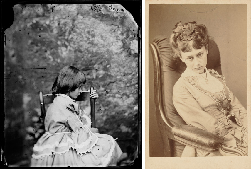 Lewis Carroll - Alice Liddell photograph, 1858 / Lewis Look Carroll - Alice Liddell photograph, 1870; Look at the way post mortem daguerreotype artists loved to embrace dead or the death of someone like a deceased family member