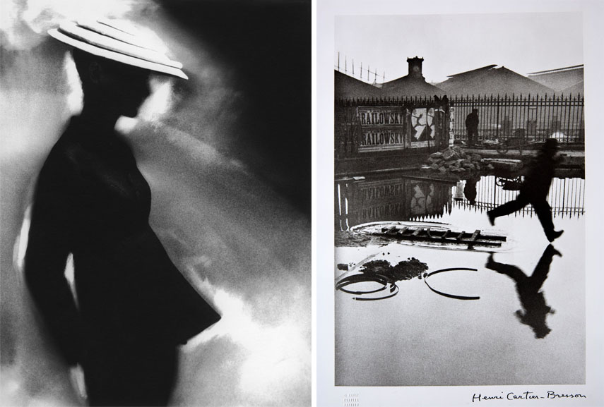 Left Lillian Bassman - Tunic Suit, Sunny Harnett (suit by Charles James), 1955 Right Henri Cartier-Bresson
