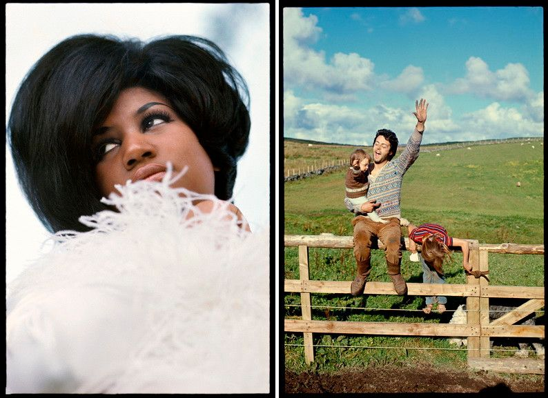 Left Linda McCartney - Aretha Franklin modeling for Mademoiselle Right Linda McCartney - Mary, Paul and Heather