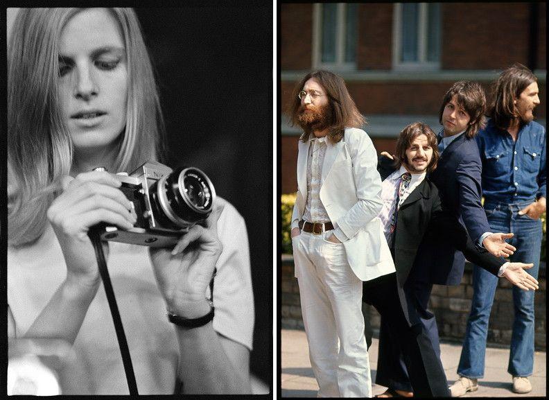Left Linda McCartney taken by Eric Clapton Right Linda McCartney - The Beatles, Abbey Road, London