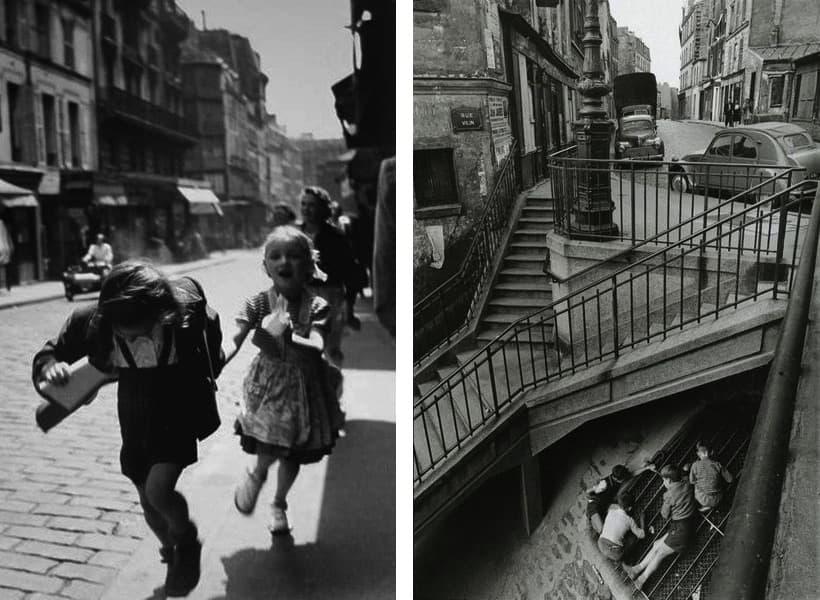 Louis Stettner - Rue des Martyrs, Paris, 1951, Willy Ronis - Kinder in Belleville, Paris, 1959