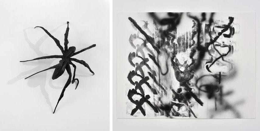 Louise Bourgeois - Spider, 1995, Julie Mehretu - Monotype #19, 2018