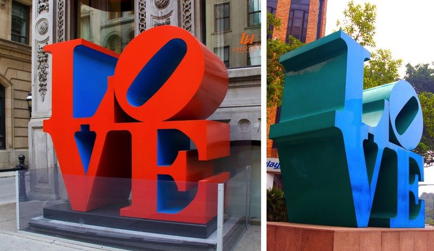 Love Sculpture in Montreal, Canada, and in Park Mall, Singapore, 1966 ; ordered from a museum in 1964, it inspired many paintings