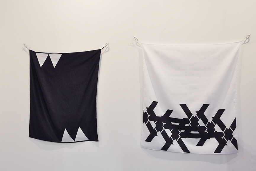 Left Luc Mattenberger - Flag I, 2015. Silkscreen print on polyester silk, 164x140 cm Right Luc Mattenberger - Double X, 2015. Silkscreen print on polyester silk, 120x108 cm. Courtesy the artist and Rotwand, Zurich