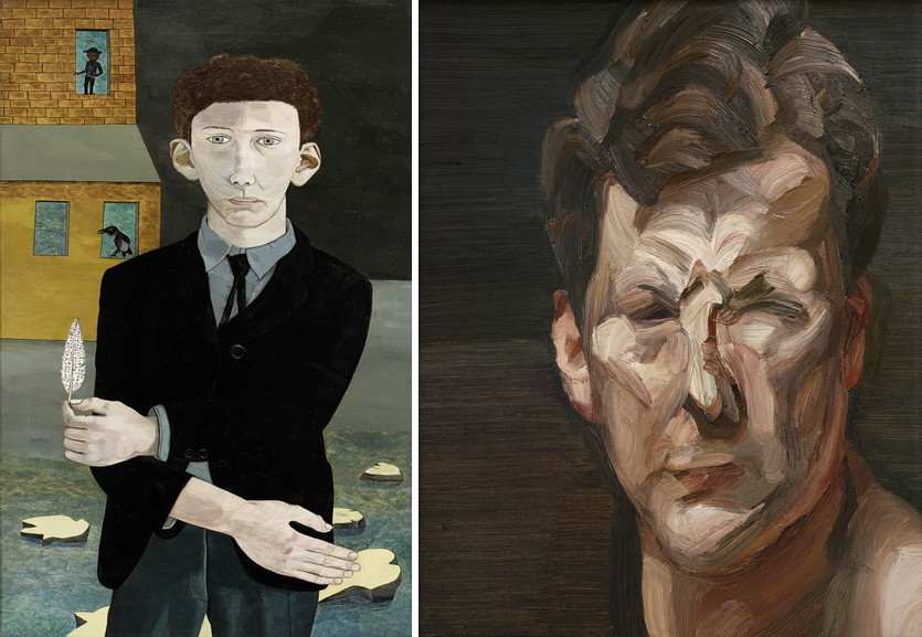 Left Lucian Freud - Man with a Feather Right Lucian Freud - Man's Head