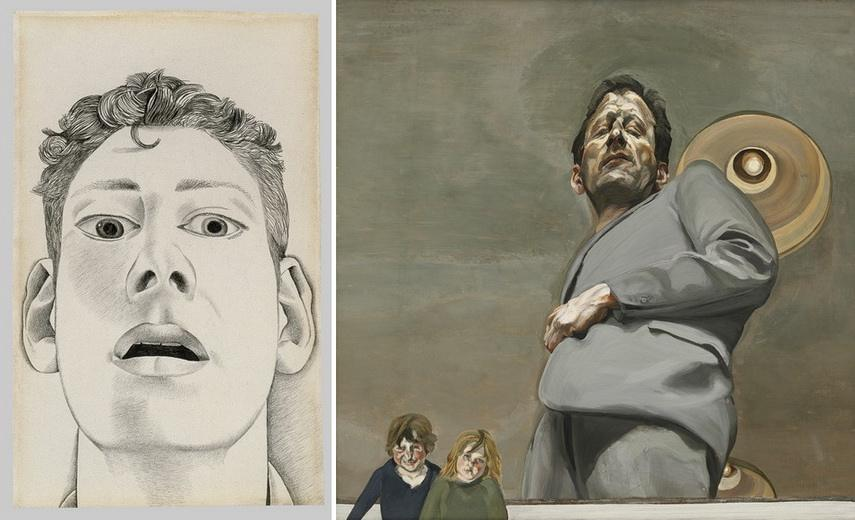 Left Lucian Freud - Startled Man Self-portrait Right Lucian Freud -Reflection with Two Children (Self-portrait)