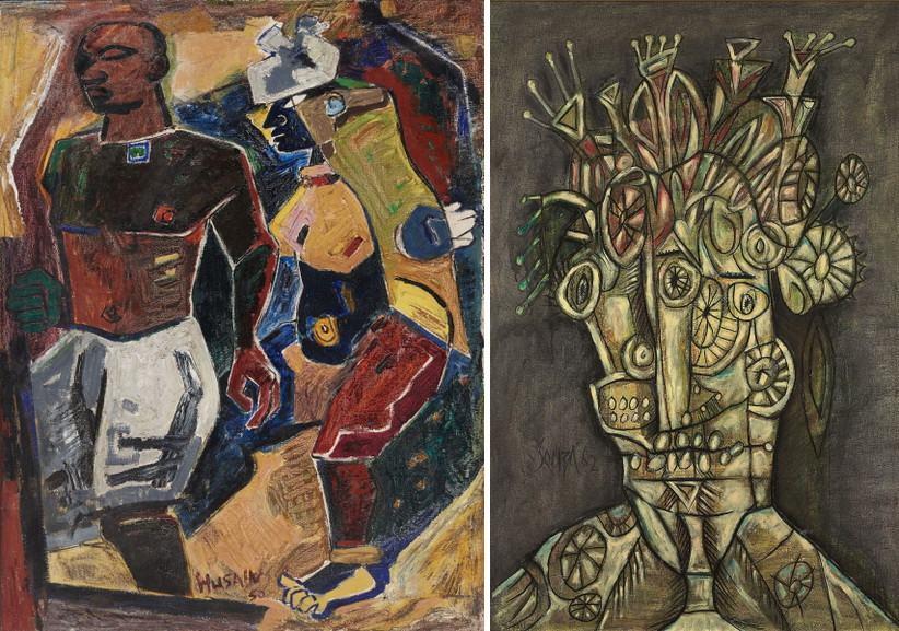 Left M F Husain - Peasant Couple Right F N Souza - Untitled
