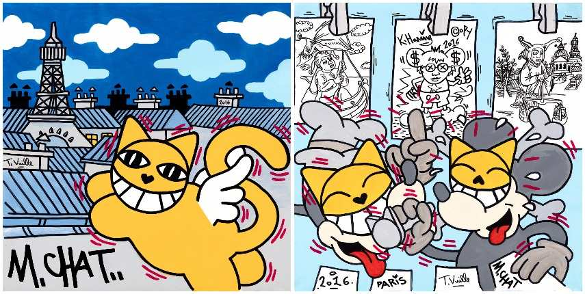 Left M.Chat-M.Chat in Love, 2016 Right M.Chat-Durer Haring M.Chat, 2016