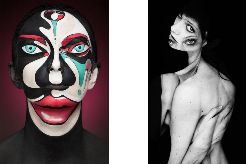 Left- Make-up artist Valeriya Kutsan - Photo by Alexander Khokhlov - Image via Feedly com; Right- Microscopy II - Photo by Robert Gaudette - Image via Nothingpersolal uk