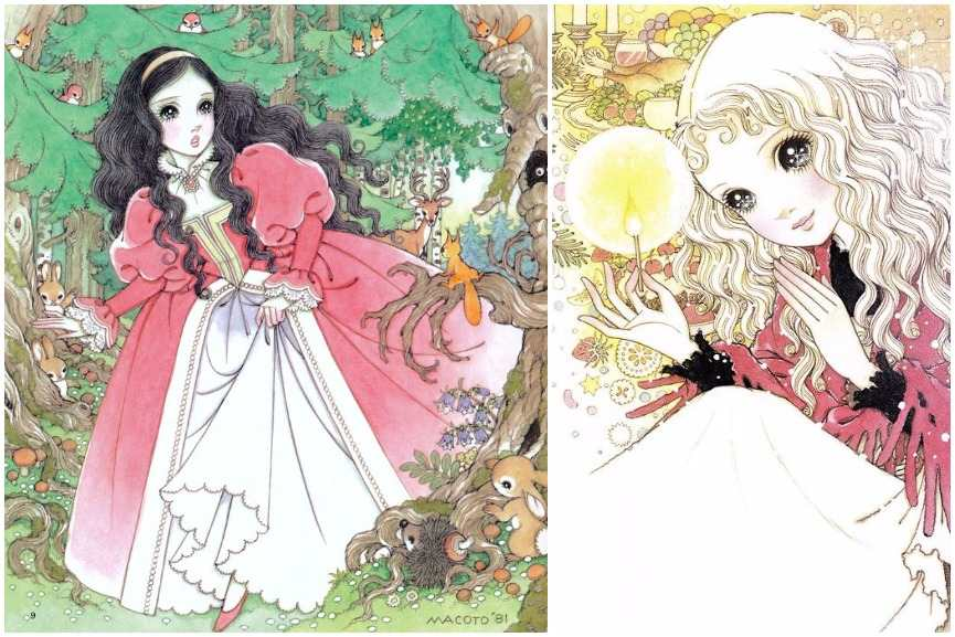 Left: Makoto Takahashi - Snow White, 1981 / Right: Makoto Takahashi - Little Match Girl, 1979