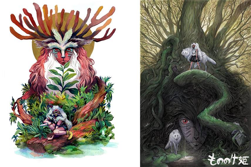 Left: Malisa Suchanya - In the Forest / Right: Tiffany Turrill - Shishigami Forest