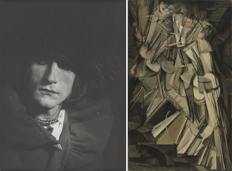 Left Man Ray - Man Ray - Duchamp as Rrose Sélavy Right Marcel Duchamp - Nude Descending a Staircase
