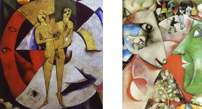 Left - Marc Chagall - Homage to Apollinaire, 1910 - 1911, Right - Marc Chagall - I and the Village, 1911, photo credits - Marc Chagall Art
