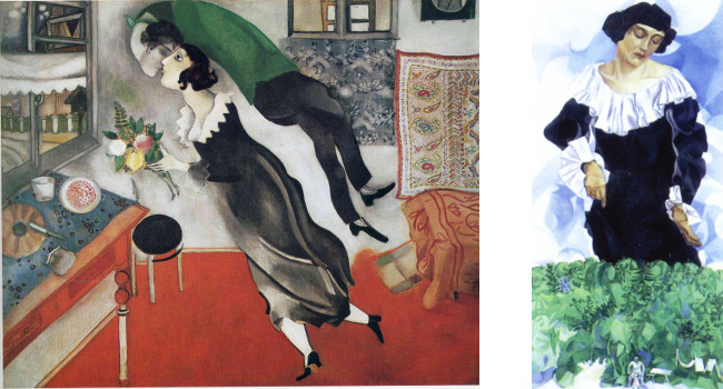 Left - Marc Chagall - The Birthday (Anniversary), 1915, photo courtesy of Gallery Intell, Right - Marc Chagall - Bella with White Collar, 1917, photo credits - Wikimedia