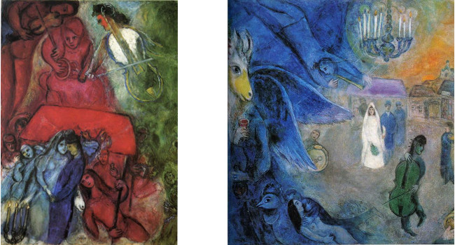 Left - Marc Chagall - The Wedding, 1944, right - Marc Chagall - The Wedding Lights, 1945, photo credits - Marc Chagall Art