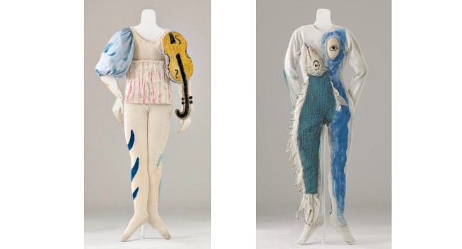 Left - Marc Chagall - Violin Costume for Aleko, Right - Marc Chagall - Fish Costume for Aleko, photo credits - The Making of Markova