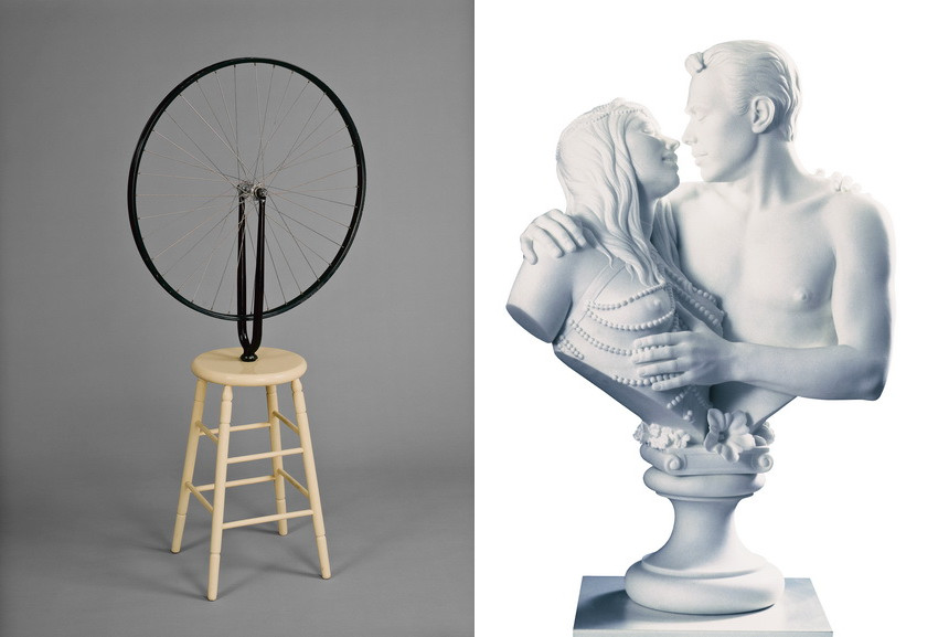 Left Marcel Duchamp - Roue de Bicyclette Right Jeff Koons - Bourgeois Bust -Jeff and Ilona Right