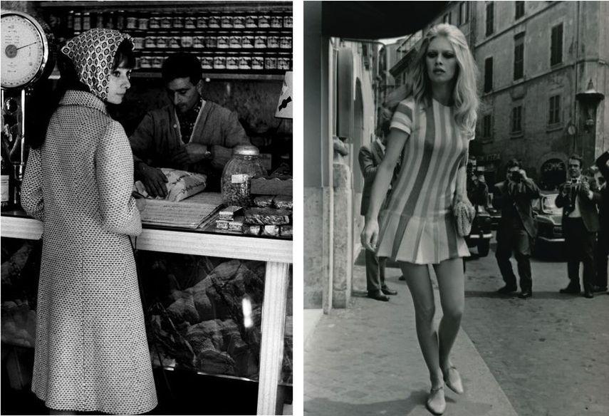 Marcello Geppetti - Audrey Hepburn dal pizzicagnolo Roma, 1961, Vittorio La Verde - Brigitte Bardot esce dall'hotel Forum Roma, 1965