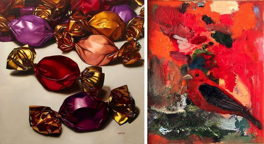Margaret Morrison - Precious Gems, 2018, Susan Breen - Scarlet Tanager, 2016