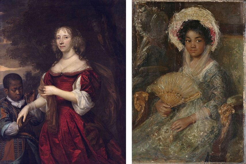 Left Margaretha van Raephorst's Negro Servant is now Called Young Black Servant Right Simon Maris' Young Negro Girl whose Name was Recently Changed to Youn Girl Holding a Fan
