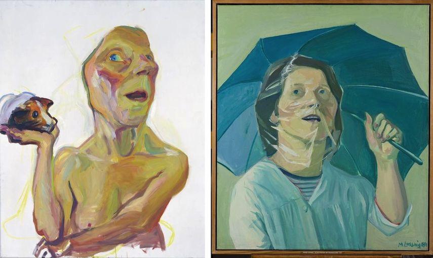 Selbst mit Meerschweinchen, 2000, Selbstporträt mit Regenschirm, 1971