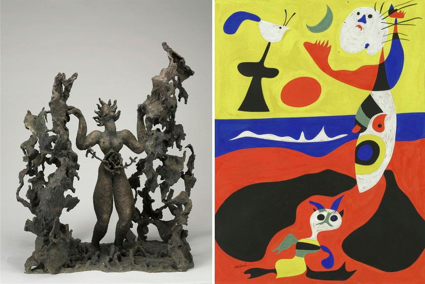 Left Maria Martins - The Two Sacred Ones Right Joan Miro - Summer