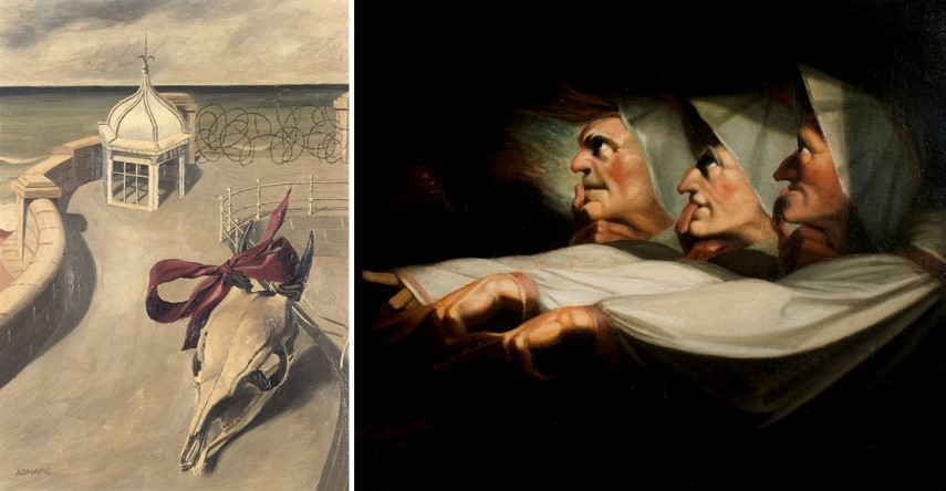Left Marion Adnams - Aftermath Right Henry Fuseli - The Weird Sisters
